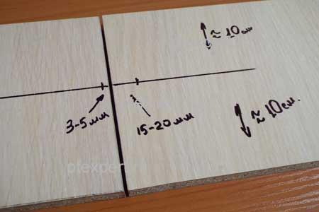 Разметка для установки четырехшарнирных мебельных петель